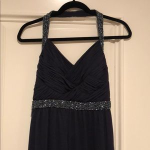 Navy blue halter Calvin Klein long prom dress